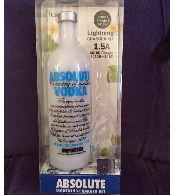 Absolute Vodaka bottle micro USB charger ket