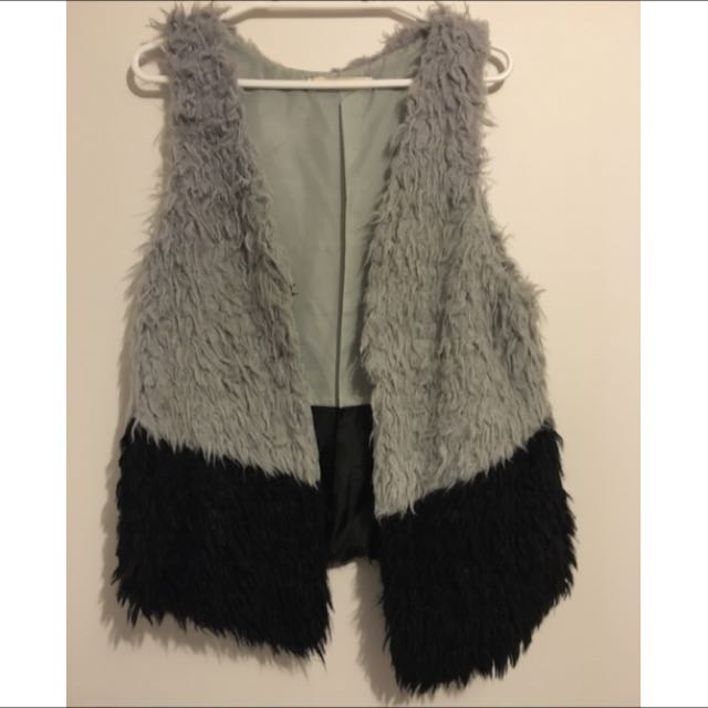 Black And Grey Fluffy Vest