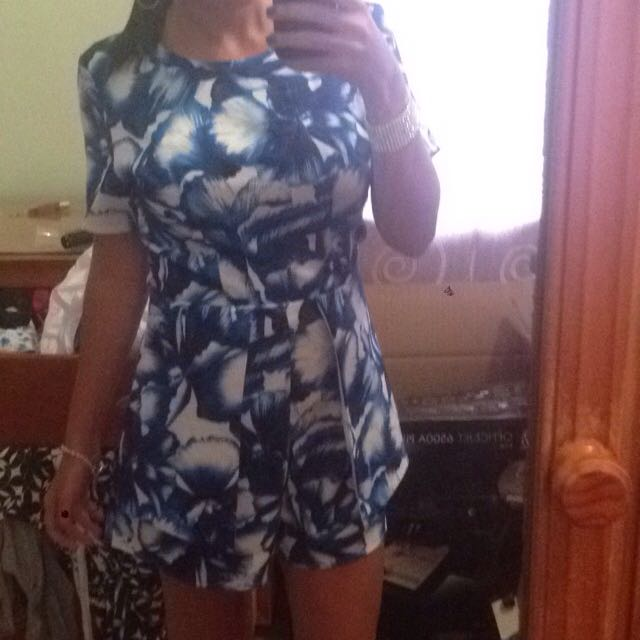 Blue And White Playsuit Size 8-10