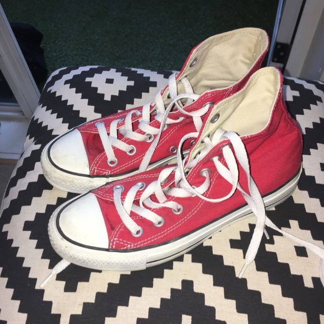 Converse Red High Tops Size Women's 7/men's 5