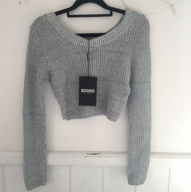 Cropped Grey Knit Jumper