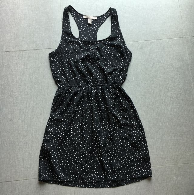 Forever 21 Contemporary White Polka-Dots Black Dress