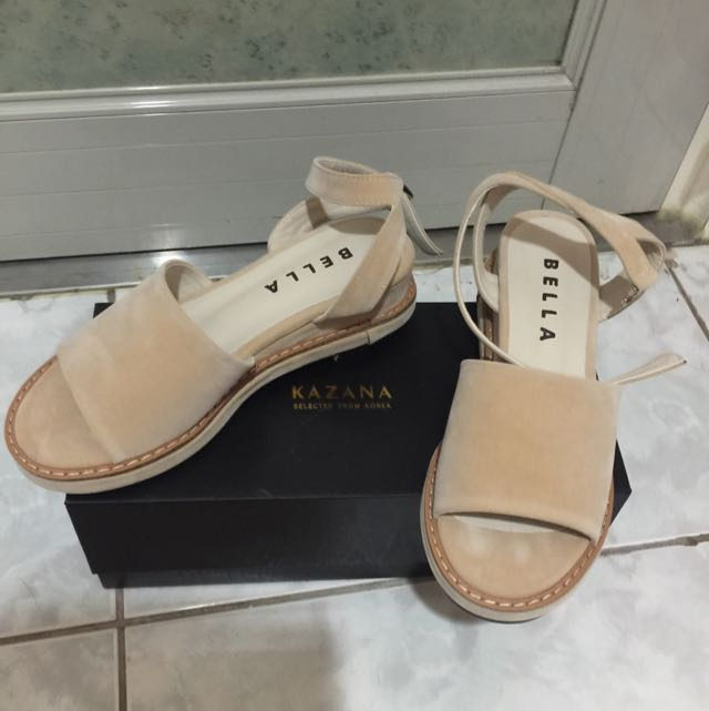 Gace gift韓國絨布一字繫帶增高涼鞋