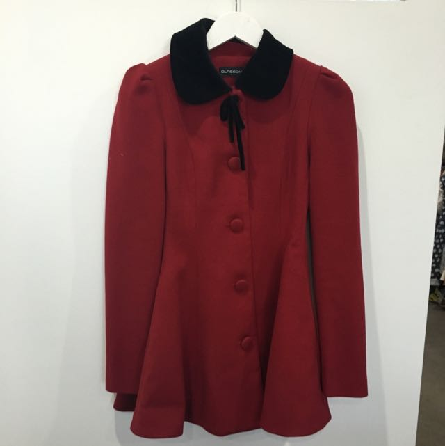 'Glassons' Red And Black Tailored Coat Size 8