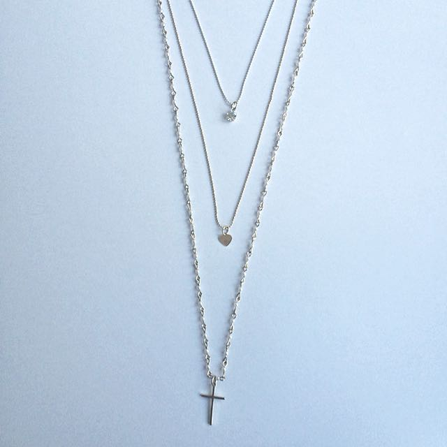 Gold And White Layered Necklace