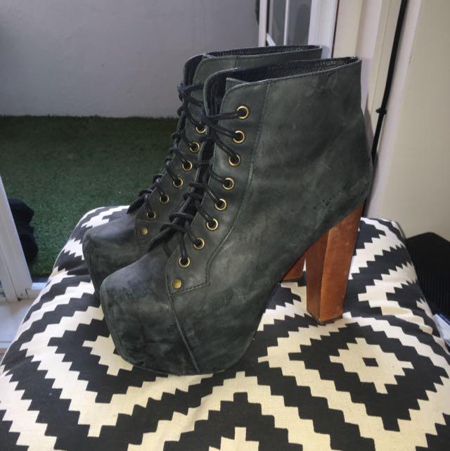 """Jeffrey Campbell """"Lita"""" Boots. Black Calfskin/wood Size 8"""