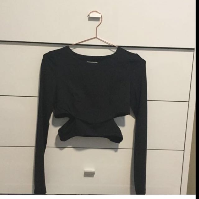 Kookai Long Sleeve Crop With Cut Out