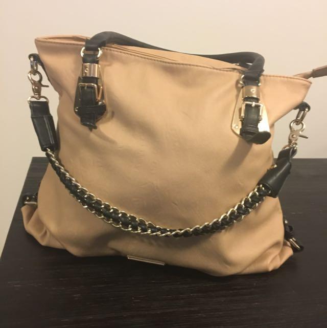 Large Nude, Black And Gold Handbag
