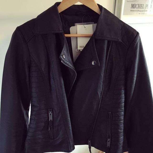 ASOS WHITE Matte Leather Biker Jacket With Stitch Detail