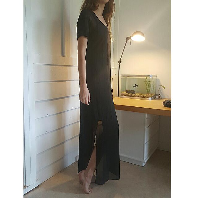 Maxi Dress With Sheer Sleeves And Bottom