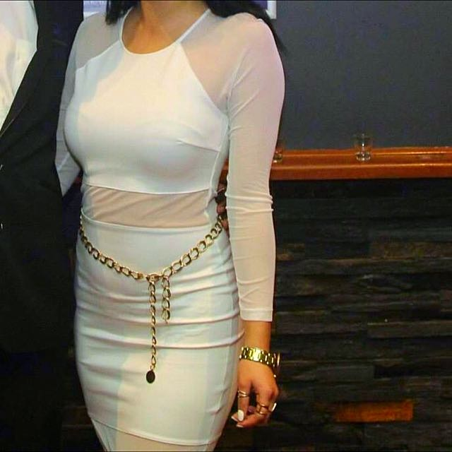 Mid Length White Tight Dress