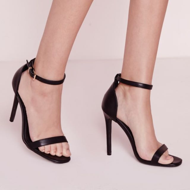 Missguided Barely There Heels Black