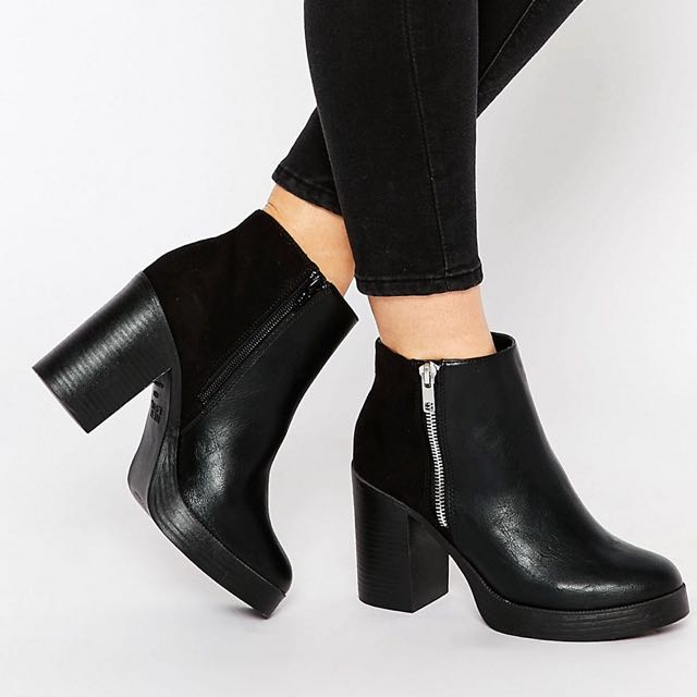 New Look Zip Detail Chunky Boots