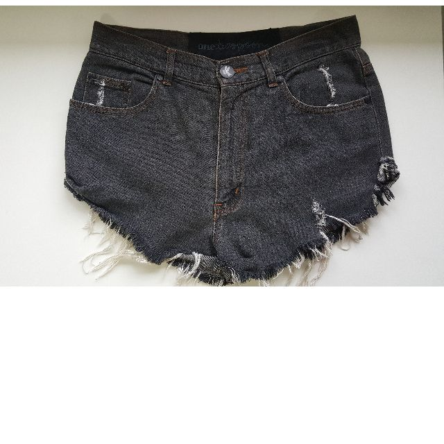 One Teaspoon Black Washed Denim Shorts