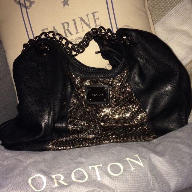Oroton Leather Glomesh Handbag