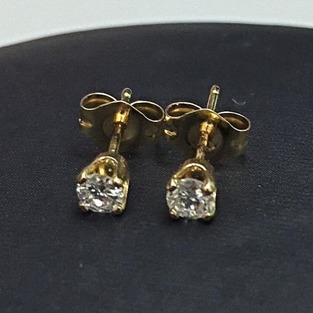 Real Gold Diamond Earstud