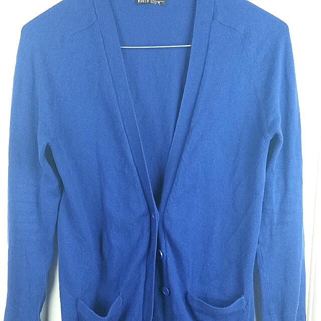 Royal Blue Long Cardigan