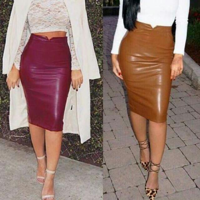 Slim Fit Leather Skirt