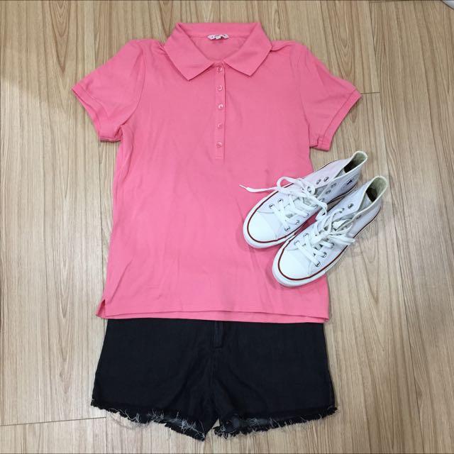 (含郵)Uniqlo粉桃色polo衫