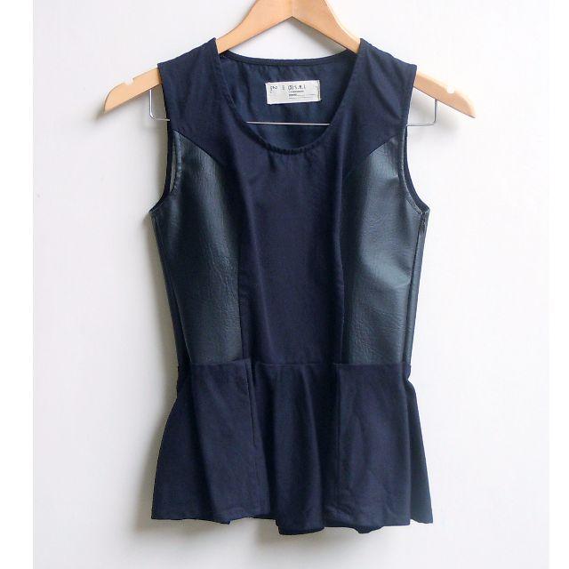 (X) S M L Leather Peplum Top