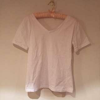 大V領棉質短袖白色上衣