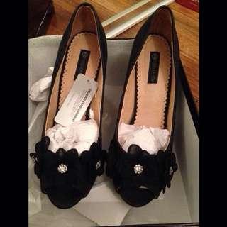 Black Embellished Heel Forever New- Size 41/10 Black