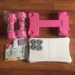 Wii Fit Balance Board And Dumbbells