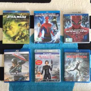 Assorted BlueRay DVDs