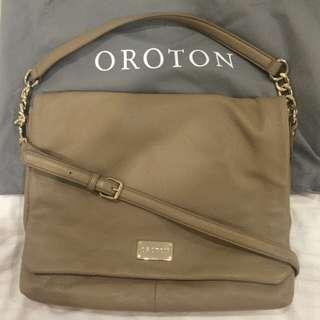Authentic Nude Leather Oroton Handbag