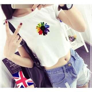 🚚 「現貨白XL」短袖 短版T恤 彩虹 太陽花 6434