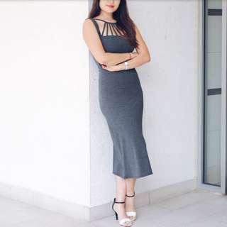 Grey Dress With Detailed Neckline