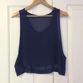 Sheer Navy Crop