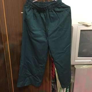 全新 韓版 寬褲 墨綠色