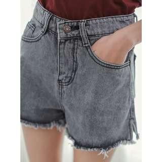褲子/SuperC/做舊開衩牛仔短褲 #029048