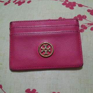 Tory burch card holder in pink