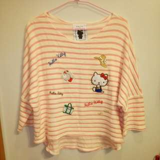 (保留)Pazzo Kitty 落肩刺繡粉條紋七分袖上衣