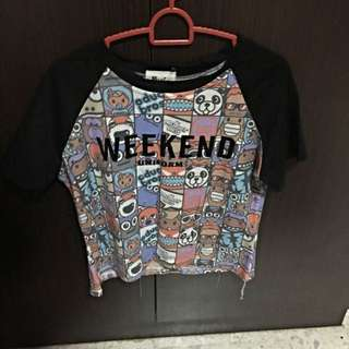 ANIMATED 'WEEKEND' CROP TOP