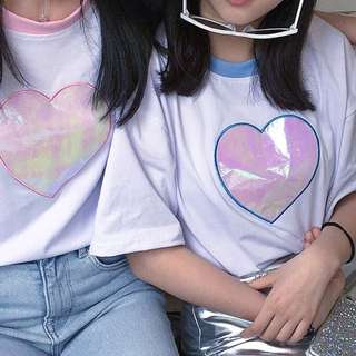 holographic heart tee