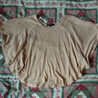 Beige Flowy Top With Large Arm Holes