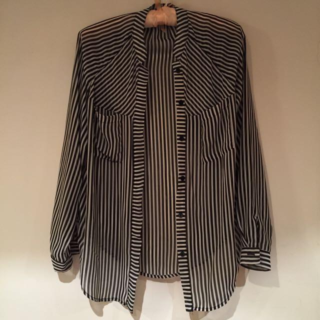 黑白直條紋透膚襯衫