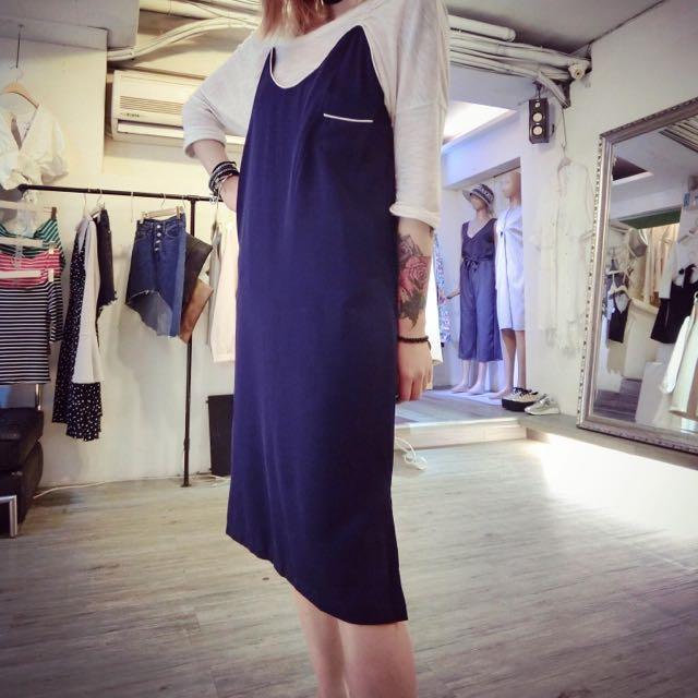 藍色細肩帶背心洋裝