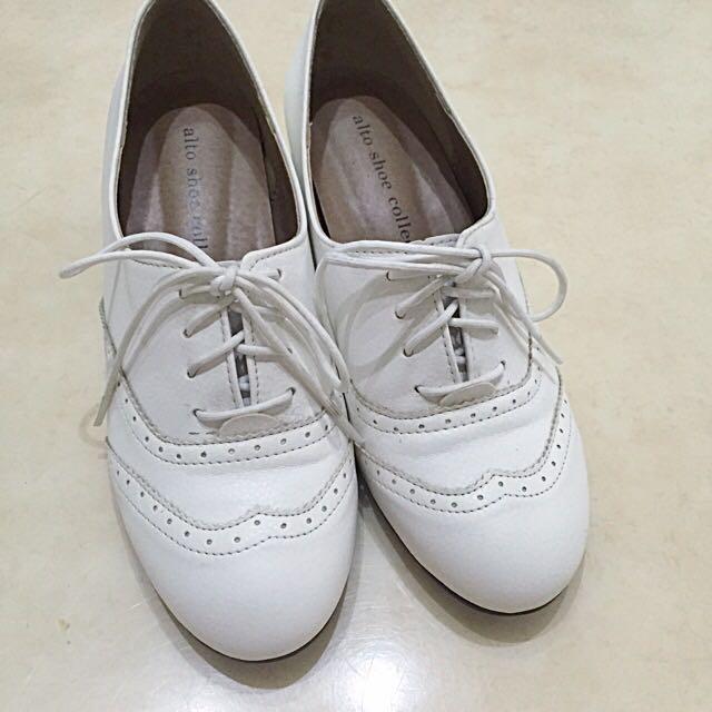 真皮 小白鞋 正韓 牛津鞋 內增高3cm 23cm