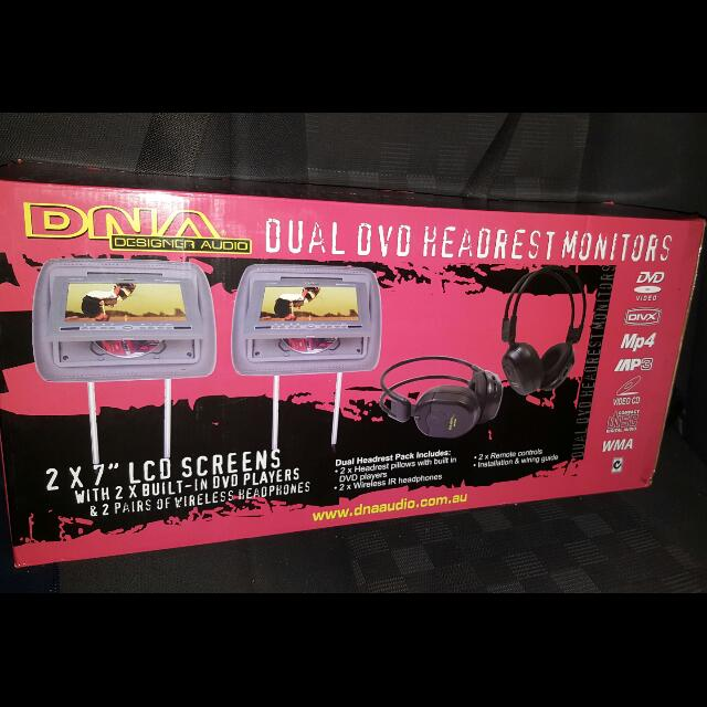 DNA DUAL HEADREST MONITOR W DVD PLAYER AND WIRELESS HEADPHONES