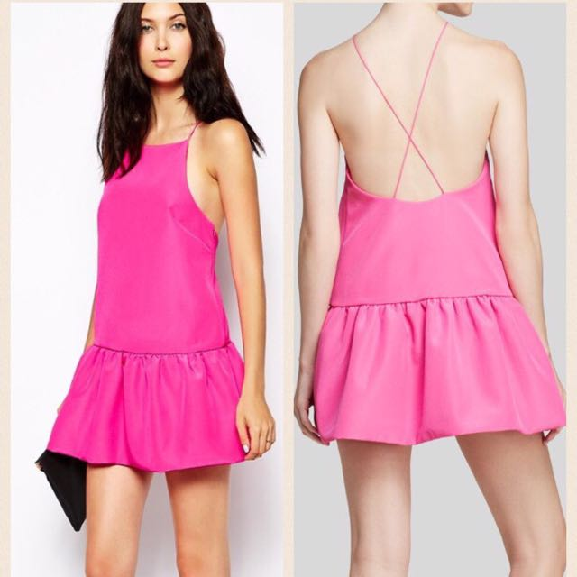 Finders Keepers Women's Pink Cross Back Dress. Size M