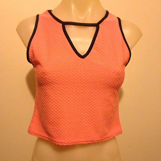 Fluorescent Orange Crop Top