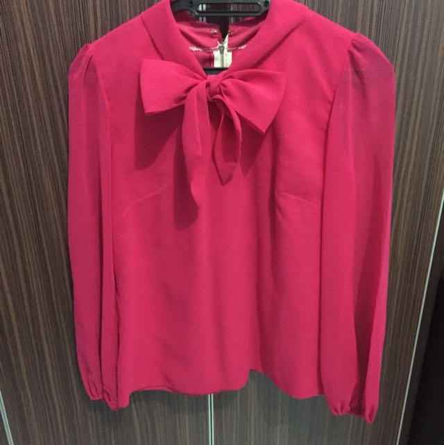 bd3e6a3676684d Fuschia Pink Blouse, Women's Fashion on Carousell