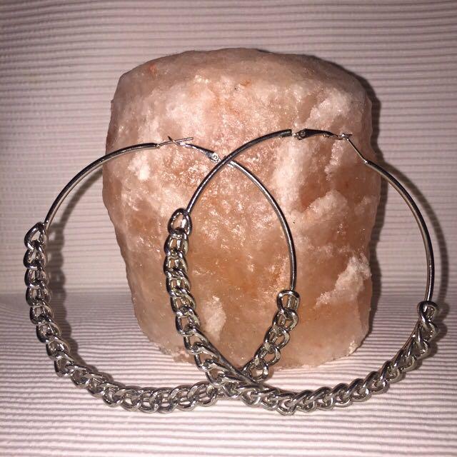 Large Silver Chain Hoop Earings