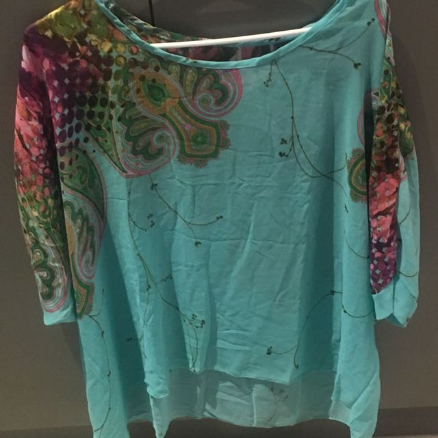 New Large Kaftan Like Style Turquoise Top