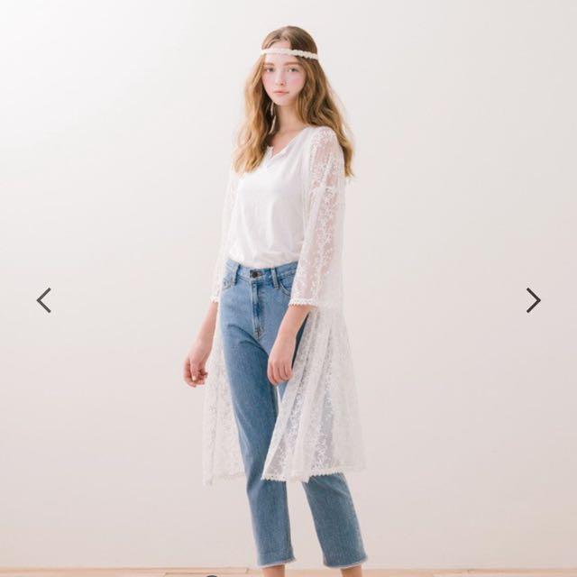 Pazzo 蕾絲白色長罩衫 沒穿過