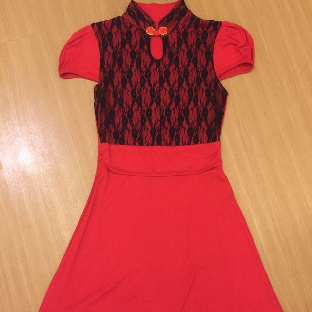 Preloved Cheongsam Tile Black And Red